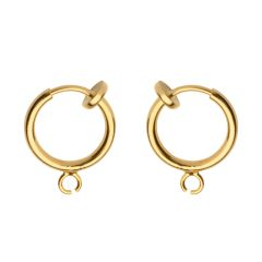 Clip on Ear Cuff / Ear Hoop with Open Ring 11mm Gold Plated