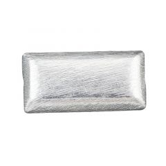 24x12mm Rectangle shape Scratched bead  Silver Plated (SP)