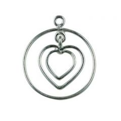 Wire Dropper 20mm Round with Heart Inset Sterling Silver (STS)