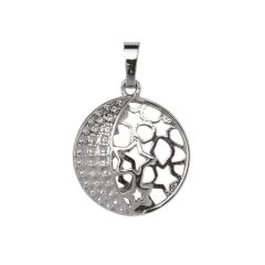 Decorative Moon & Star 23mm Cage Pendant Silver Plated