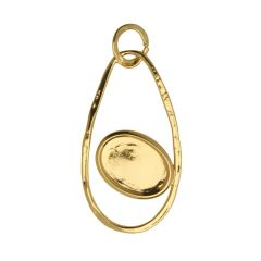 Teardrop Hammered Pendant with 18x13mm Cup Gold Plated