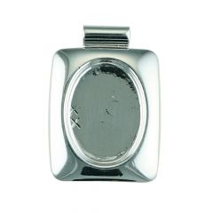 Rectangle Pendant with 18x13mm Cup for Cabochon Silver Plated