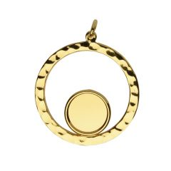 32mm Hammered Circle Pendant with 12mm Cup Gold Plated