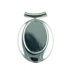 Offset Oval Top Tube Pendant with 25x18mm Cup for Cabochon Silver Plated