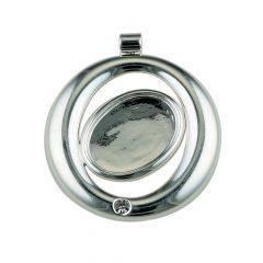 Round Pendant with 3mm Facet and 18x13mm Cup for Cabochon Silver Plated