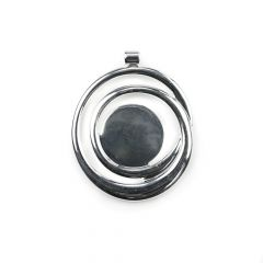 Swirly Pendant with Pad to Take 20mm Cabochon Silver Plated