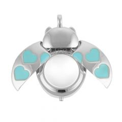 Ladybird with Aqua Hearts Magnifying Glass 40x25mm Novelty Pendant Rhodium Plated