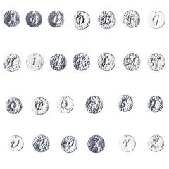 15mm Disc Charm Pendant with Script Initial A-Z Set (26pcs) Silver Plated
