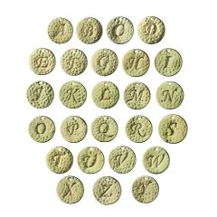 15mm Disc Charm Pendant with Script Initial A-Z Set (26pcs) Matt Gold Plated