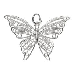 Decorative Butterfly Pendant 34x48mm Sterling Silver