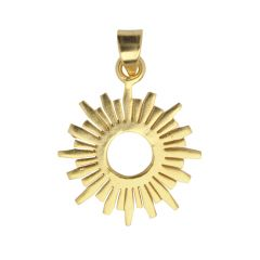 Sun Shaped 24mm Pendant Gold Plated Vermeil Sterling Silver