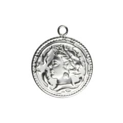 Roman Medallion Coin Charm/Pendant 20mm Sterling Silver (STS)