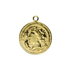 Roman Medallion Coin Charm/Pendant 20mm GP Vermeil Sterling Silver