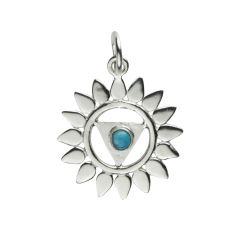 Chakra Throat Turquoise 18mm Pendant with 7mm Jump Ring Sterling Silver STS