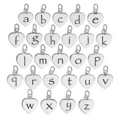 a-z set 10mm Heart Initial Charm Pendant Sterling Silver