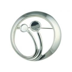 Circle Grasses Brooch with one 6mm and one 8mm Cups for Cabochons Silver Plated