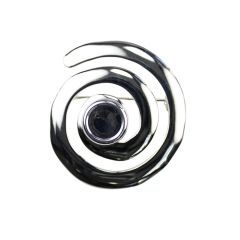 Swirl Brooch with 10mm Cup for Cabochon Silver Plated