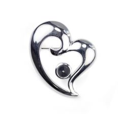 Offset Heart Brooch with 6mm Cup for Cabochon Silver Plated