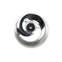 Satin Swirl Brooch with Shiny 8mm Cup for  Cabochon Silver Plated