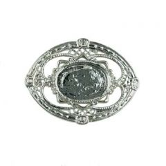 Brooch with 18x13mm Cup for Cabochon Rhodium Plated