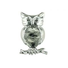 Owl Brooch with 18x13mm Cup for Cabochon Rhodium Plated