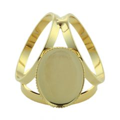 Scarf Ring with 18x13mm Milled Edge Cup for Cabochon Gold Plated
