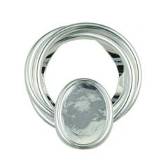 Scarf Clip with 18x13mm Plain Edge Cup for Cabochon Silver Plated