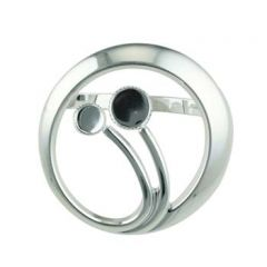 Circle Grasses Scarf Clip with 6mm and 8mm Cups for Cabochons Silver Plated
