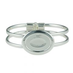 Spring Bangle with 25x18mm Cup for Cabochon Silver Plated