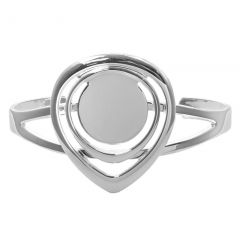 Teardrop Bangle with 20mm Pad for Cabochon Silver Plated