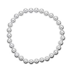 6mm Bead Elasticated Bracelet Silver Plated