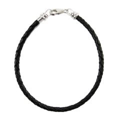 Caprice Black Braided Leather Bracelet 3mm 7.5mm + STS Clasp