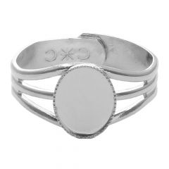 Ring with 10x8mm Milled Edge  Cup for Cabochon Silver Plated