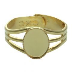 Ring with 10x8mm Milled Edge  Cup for Cabochon Gold Plated