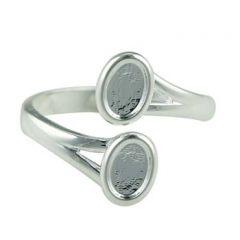 Ring with two 6x4mm Cups for Cabochons Silver Plated