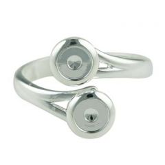 Ring with two 5mm Cups for Cabochons Silver Plated