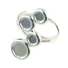 Adjustable Ring with 5mm 6mm and 8mm Cups for Cabochons Silver Plated