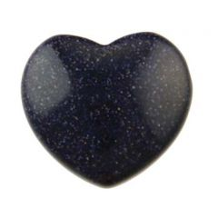Gemstone Feature 30x28mm Heart Side Drilled Goldstone Blue with 2.5mm Hole