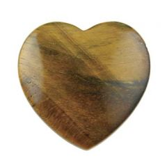 Gemstone Feature 40mm Heart Side Drilled Tiger Eye with 1mm Hole