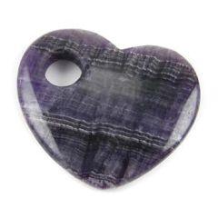 Gemstone Feature 50mm Offset Heart 10mm Hole Fluorite