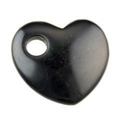 Gemstone Pendant 50mm Offset Heart 10mm Hole Black Agate
