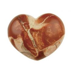 Gemstone Feature 25x30mm Puff Heart Brecciated Jasper Side Drilled with 2.5mm Hole