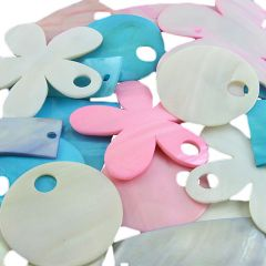 Bargain Pack Mixed Shaped Assorted Colour Shell Pendant (20 pieces)