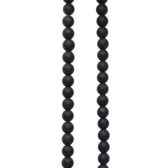 6mm Round gemstone bead Black Agate MATT 40cm strand