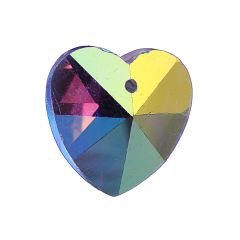18mm Facet Heart shaped AAA Crystal Glass Bead AB Crystal Top Drilled