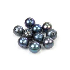 9-9.5mm Potato Pearl Side Drilled 1.2mm Hole Peacock (10 pcs)