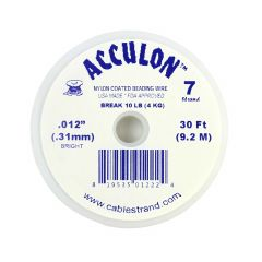 "Acculon Beading Wire .012"" (7 strand) Bright 30 Foot Reel"