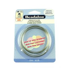 Beadalon Half  Round German Style Wire 18 Gauge Silver Plated 2 Metres