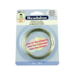 Beadalon Half  Round German Style Wire 20 Gauge Silver Plated 3 Metres