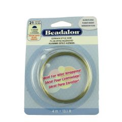 Beadalon Half  Round German Style Wire 21 Gauge Silver Plated 4 Metres
